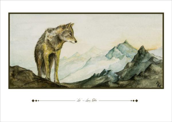 Lámina de la acuarela original Lobo - Laura Robles