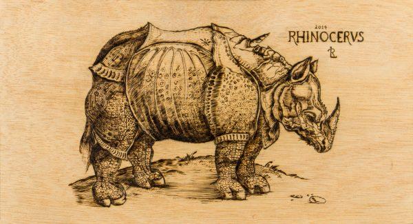 Rhinocerus - Pirograbado - Laura Robles