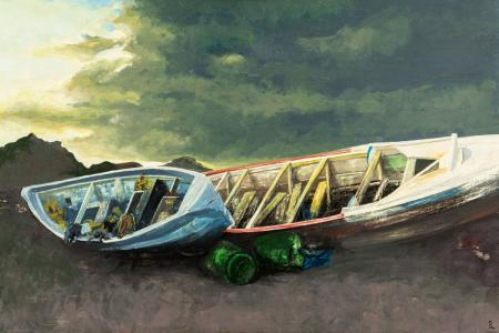 Óleo sobre tabla 40x60 cm - Barcas - Laura Robles