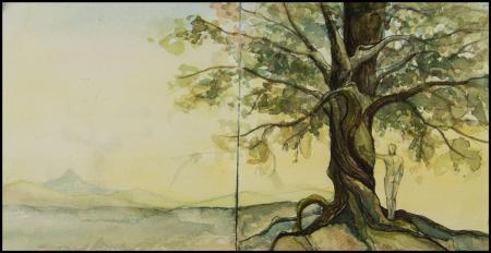 Acuarela - Hombre en el Árbol - Laura Robles